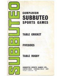 1960's SUBBUTEO COMPANION. Fivesides, Rugby & Cricket.