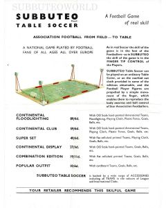 1960's ORIGINAL A4 CONTINENTAL SUBBUTEO SETS FLIER.