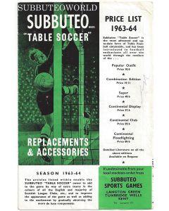 1963-64 ORIGINAL SUBBUTEO CATALOGUE.
