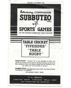 1964 SUBBUTEO SPORTS GAMES COMPANION. October 1964. Includes Beatles Advert.