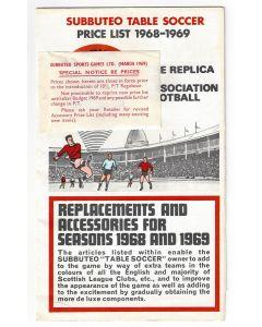 1968-69 SUBBUTEO CATALOGUE. Includes Price Notice Sticker.