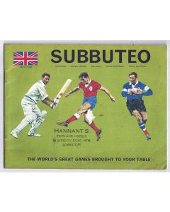1969 SUBBUTEO CATALOGUE/BOOKLET. Writing On Back Cover.