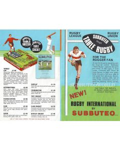 1972 FULL COLOUR SUBBUTEO FLIER. With New Updated Decimalisation Prices.