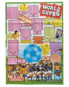 1986 WORLD CUP FINALS POSTER. Made By Subbuteo September 1986.