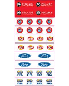 SET A. 10 HIGH QUALITY VINYL GRANDSTAND LABELS. Designed To Be Used With Zeugo & Subbuteo Grandstands.