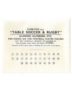 1950's ORIGINAL UNUSED SUBBUTEO FOOTBALL & RUGBY PLAYER NUMBER SHEET.