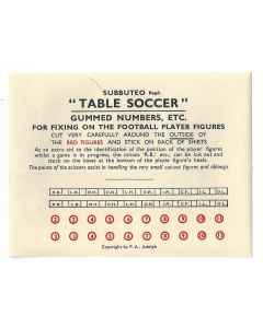 1950's ORIGINAL UNUSED SUBBUTEO FOOTBALL PLAYER NUMBER SHEET. With Red Numbers.