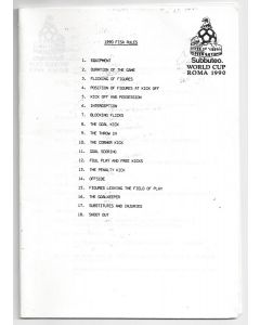1990 ROME SUBBUTEO WORLD CUP - FISA RULE BOOKLET.