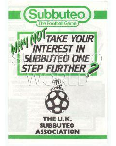 1980's UK SUBBUTEO ASSOCIATION APPLICATION FORM.