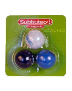 01. PACK OF THREE 22mm INTER MILAN SUBBUTEO BALLS. In Blue, White & Black.
