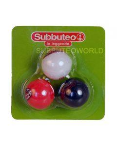 01. PACK OF THREE 22mm AC MILAN SUBBUTEO BALLS. In Red, White & Black.