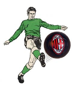 01. ONE SPARE 22mm AC MILAN SUBBUTEO BALL IN BLACK.