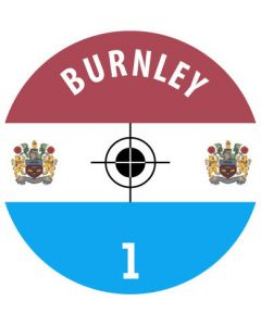 BURNLEY DECALS. (24 base stickers with badge, name & numbers)