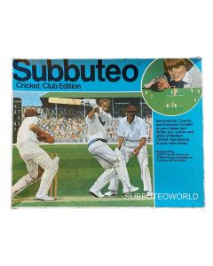 1970's SUBBUTEO CRICKET CLUB EDITION. Includes: A Fielding Team, The Pitch, Bails, Stumps, Balls & Rules.