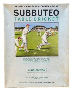 1968-69 SUBBUTEO CRICKET CLUB EDITION. Includes: A Fielding Team, The Pitch, Bails, Stumps, Balls, Price List & Rules.
