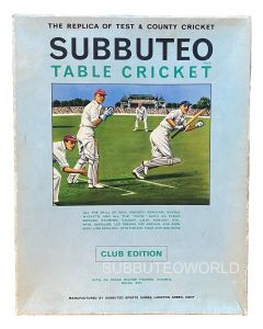 1960's SUBBUTEO CRICKET CLUB EDITION. Includes: A Fielding Team, The Pitch, Bails, Stumps, Balls & Rules.