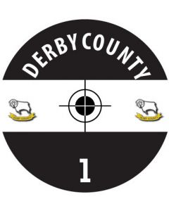 DERBY COUNTY DECALS. (24 base stickers with badge, name & numbers)