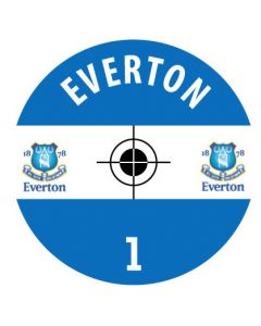 EVERTON DECALS. (24 base stickers with badge, name & numbers)