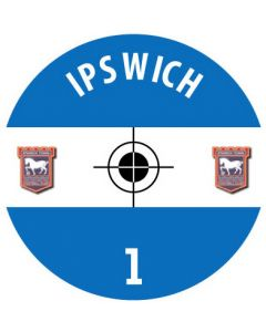 IPSWICH TOWN DECALS. (24 base stickers with badge, name & numbers)