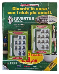 025. ITALY 1968 & JUVENTUS 1983/84. TWO TEAM FABBRI SUBBUTEO SET. INCLUDES BOOKLETS & BACKING CARD.
