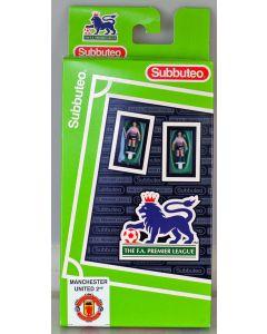 LW771. MANCHESTER UTD 2ND 1997-99 - SHARP VIEWCAM SPONSORS LOGO. Hasbro FA Premier League Team, named box. Solid Black Bases.