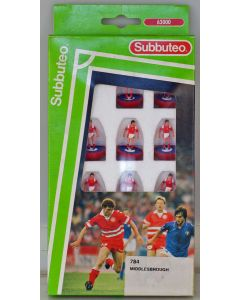 LW784. MIDDLESBROUGH. 1992-94 LW Team, numbered box. Red Bases, Blue Discs.