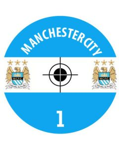 MANCHESTER CITY DECALS. (24 base stickers with badge, name & numbers)