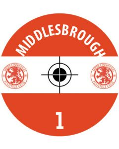 MIDDLESBROUGH DECALS. (24 base stickers with badge, name & numbers)