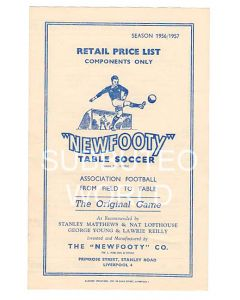 1956-57 ORIGINAL NEWFOOTY RETAIL PRICE LIST.