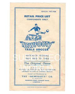 1957-58 ORIGINAL NEWFOOTY RETAIL PRICE LIST.