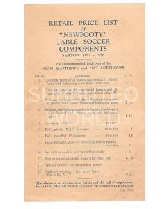 1955-56 ORIGINAL NEWFOOTY RETAIL ABBREVIATED PRICE LIST.