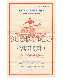 1952 ORIGINAL NEWFOOTY RETAIL PRICE LIST.