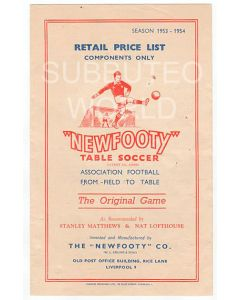 1953/54 ORIGINAL NEWFOOTY PRICE LIST.