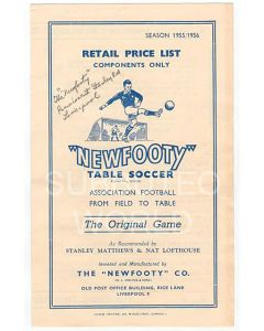 1955-56 ORIGINAL NEWFOOTY PRICE LIST.