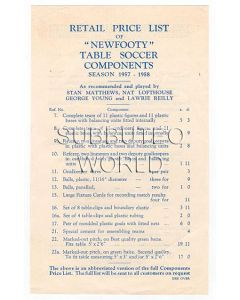 1957/58 ORIGINAL NEWFOOTY ABBREVIATED PRICE LIST.