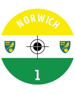 NORWICH CITY DECALS. (24 base stickers with badge, name & numbers)