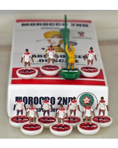 01. MOROCCO 2ND 2018 WORLD CUP. Ltd Edition Hand Painted Team. White Base, Red Disc.