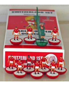 01. SWITZERLAND 1ST 2018 WORLD CUP. Ltd Edition Hand Painted Team. Red Base, White Disc.