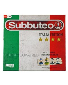 001. ITALIAN EDITION SUBBUTEO BOX SET. With 4 LW Teams: Italy, Brazil, Cameroon & Bulgaria, Player Numbers, Goals, A Ball, A Cotton Pitch & Rules. The Ideal Starter Set.