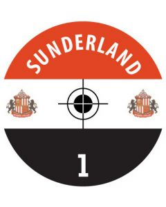 SUNDERLAND DECALS. (24 base stickers with badge, name & numbers)
