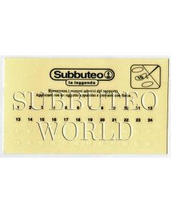 01. A SET OF SUBBUTEO PLAYER NUMBER TRANSFERS. 1 to 24 In White & 1 to 24 in Black.