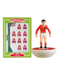 WALES. Retro Subbuteo Team. Modelled on the LW Figure & Bases From the 1980's. Some Box Damage.