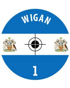 WIGAN DECALS. (24 base stickers with badge, name & numbers)